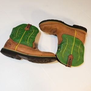 John Deere Youth 6M Leather Cowboy Boots